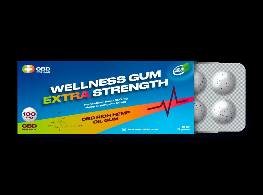 Wellness extra strength Gum CBD reach hemp oil 10 gums