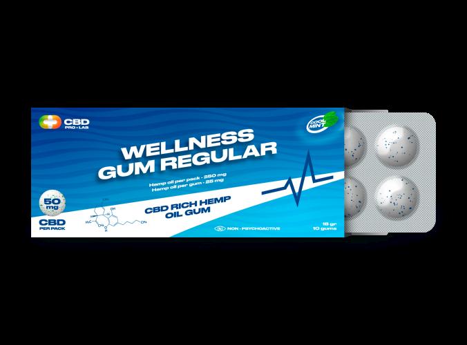 Wellness regular Gum CBD rich hemp oil gum 10 gums