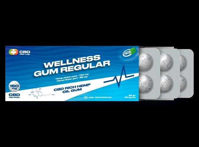 Wellness regular Gum CBD rich hemp oil gum 30 gums
