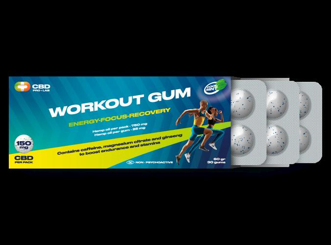 Workout CBD Gum Energy-Focus-Recovery 30 gums